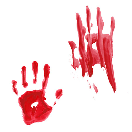 Bloody hand print isolated on white background. Vector illustration Stock Vector - 110644212