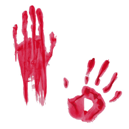 Bloody hand print isolated on white background. Vector illustration Stock Vector - 109472998