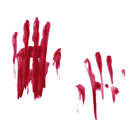 Bloody hand print isolated on white background.