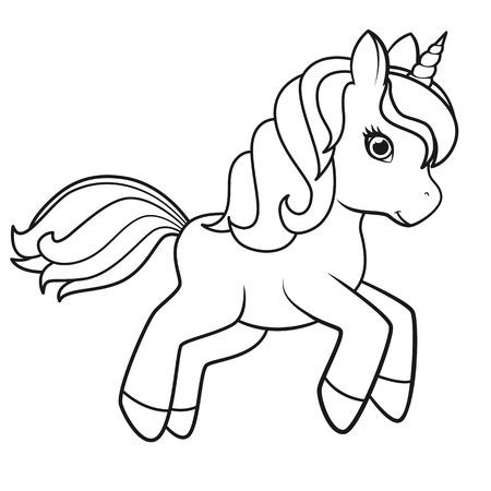 Unicornio de dibujos animados lindo aislado sobre fondo blanco. Ilustración de vector de libros para colorear