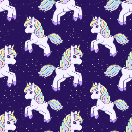 Seamless pattern with running cute cartoon unicorn. Vector illustration