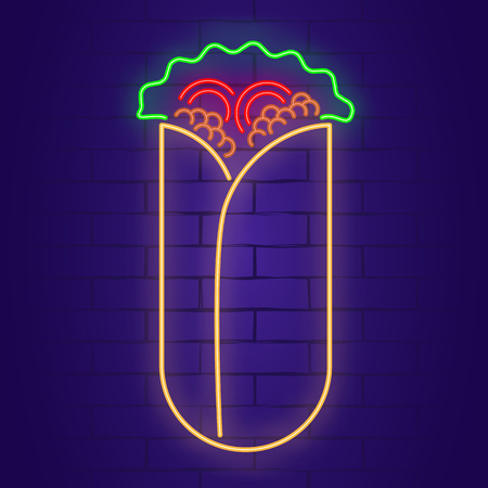 Shawarma neon sign on brick wall background. Light banner. Vector illustration
