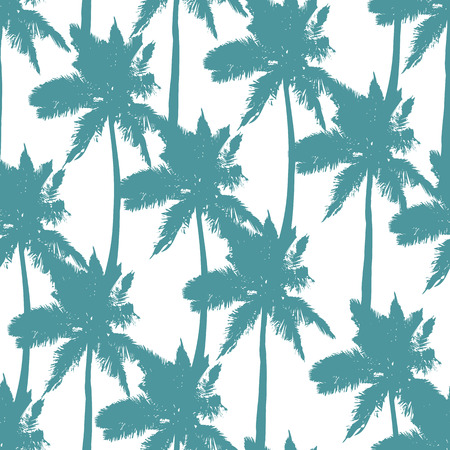 Palm trees seamless pattern on white background. Print for fabric, wallpaper or giftwrap. Vector illustration Vetores