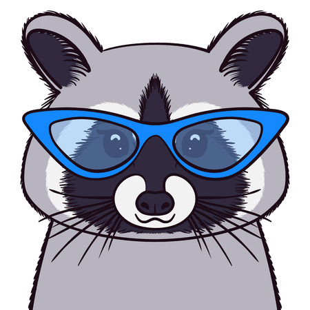 Cute Racoon in glasses. Print for fabric, t-shirt, poster. Vector illustration