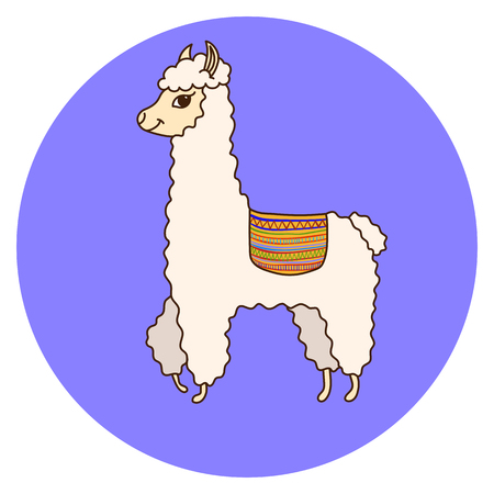 Cute Lama cartoon. Print for fabric, t-shirt, poster. Vector illustration Ilustração