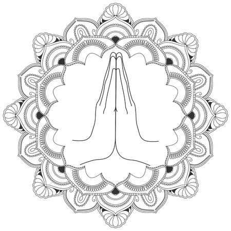 Namaste with decorative indian ornament mandala on white background. Vector illustration 일러스트