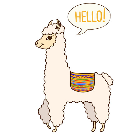 Cute Lama saying Hello. Print for fabric, t-shirt, poster. Vector illustration Imagens - 111098614