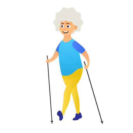Happy old women dressed in sports clothes walking with nordic walking poles. Cartoon character isolated on white background. Vector illustration Ilustração Vetorial