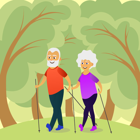 Seniors nordic walking. Old man and woman walking together. Elderly people active lifestyle. Vector illustration
