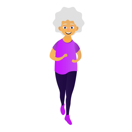 Happy old women dressed in sports clothing doing fitness, running. Active elderly woman. Cartoon character isolated on white background. Vector illustration Vetores