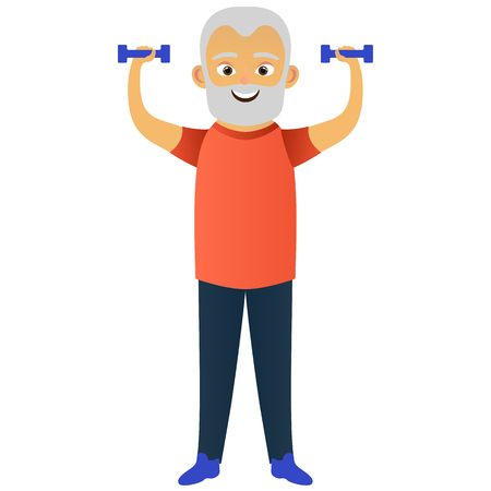 Happy old men dressed in sportswear doing sportswear exercises with dumbbells. Cute grandfather. Active elderly man. Cartoon character. Vector illustration