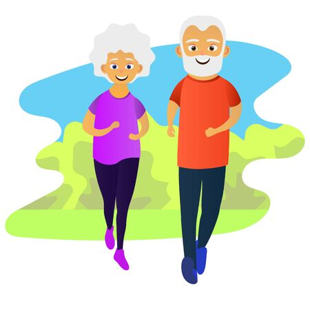 Old man and woman running together. Elderly people active lifestyle. Vector illustration