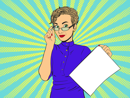 Woman in glasses with empty piece of paper.Comic girl. Pop Art vintage vector illustration
