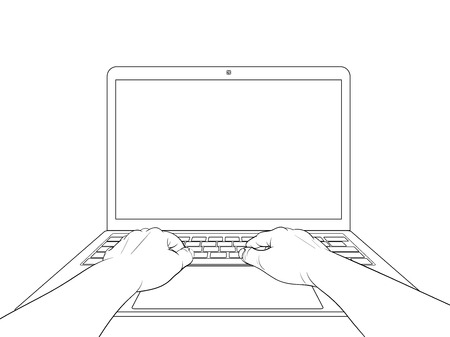 Hands on laptop isolated on white background. Vector illustration