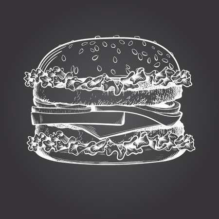 Burger sketch on dark background. Vector illustration