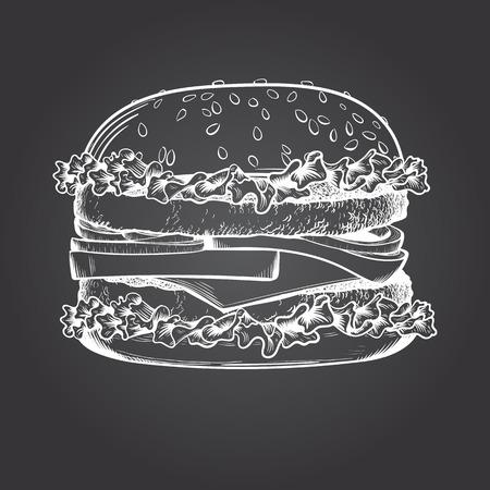 Dibujo de hamburguesa sobre fondo oscuro. Ilustración vectorial Ilustración de vector