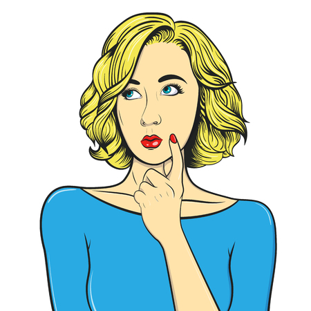 Thoughtful girl. Woman in comic style. Vintage vector illustration