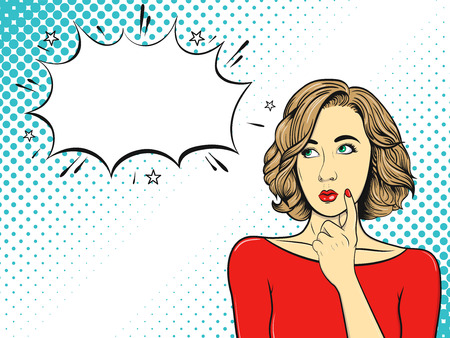 Thoughtful girl. Woman in comic style. Pop Art vintage vector illustration