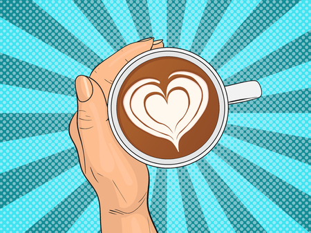 Hand holding cup of coffee. Pop Art vintage vector illustration
