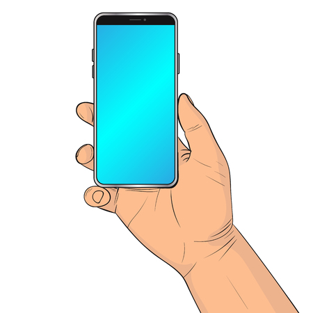 A hand is holding a smartphone. Vector illustration