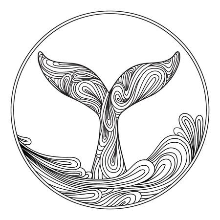 Whale tail. Ornament tattoo prints for tattoo, t-shirt print