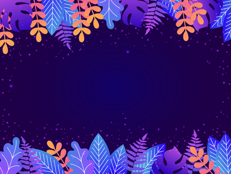 Floral background with copy space for text. Vector illustration in vibrant gradient colors