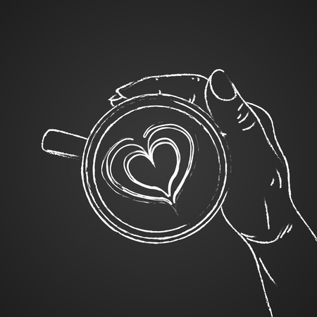 Hand holding cup of coffee. Sketch on the chalkboard background. Vector illustration Foto de archivo - 123453458