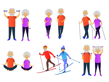 Happy woman Skiing, dumbbell exercises, running, yoga, nordic walking. Elderly people active lifestyle. Vector illustration