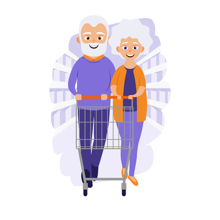 Grocery store or supermarket. Cute grandparents. Elderly couple. Cartoon character. Vector illustration