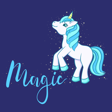 Cute Cartoon Unicorn with text Magic. Vector illustration