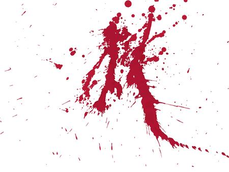 Gouttes de sang et éclaboussures sur fond blanc. Illustration vectorielle