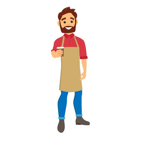 Barista dando café para llevar. Hombre joven con barba y delantal. Ilustración de vector de personaje