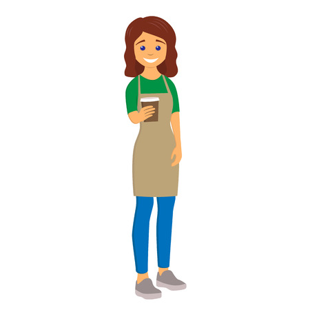 Barista giving coffee to go. Young woman in an apron. Character vector illustration