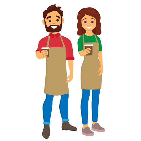 Baristas giving coffee to go. Young man and woman with an aprons. Character vector illustration