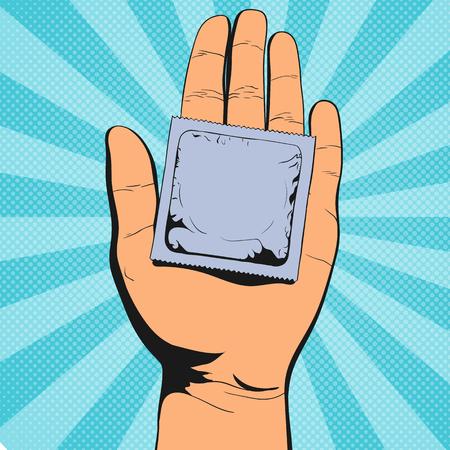 Main tenant le préservatif. Illustration vectorielle vintage pop art
