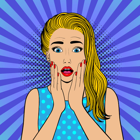 Surprised woman with blonde hair.Comic woman. Wow face female. Pop Art vintage vector illustration