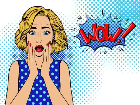 Donna sorpresa con il fumetto. Donna comica. Wow, faccia femminile. Illustrazione vettoriale vintage Pop Art Vettoriali