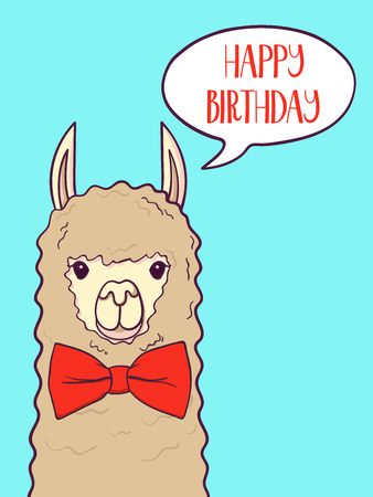 Cute llama, alpaca for poster, greeting, birthday card and party decor. Vector illustration