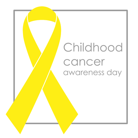 Yellow ribbon, childhood cancer awareness day. Vector illustration
