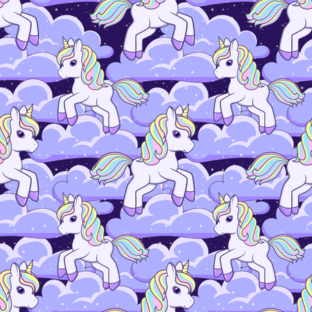 Seamless pattern with cartoon Unicorn and clouds. Vector illustration Ilustração