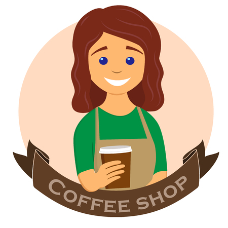 Barista giving coffee to go. Coffee shop, coffee bar label, badge or emblem. Vector illustration in flat style