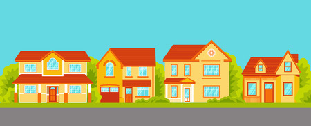 Cottage houses street. Front view. Vector Illustration in Flat Style