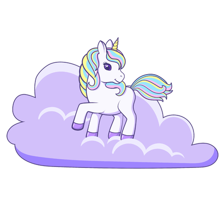 Cute cartoon unicorn standing on cloud. Vector illustration