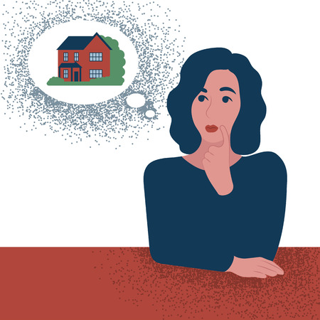 Think girl about house or mortgage. Woman in trendy abstract style. Vector illustration Ilustrace