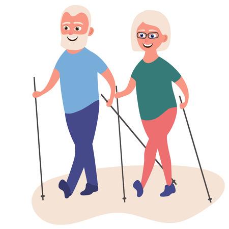 Glückliche alte Frauen in Sportkleidung, die mit Nordic Walking-Stöcken spazieren gehen. Zeichentrickfigur. Vektorgrafik