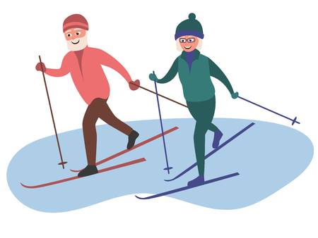 Old man and woman skiing together. Elderly people active lifestyle. Vector illustration