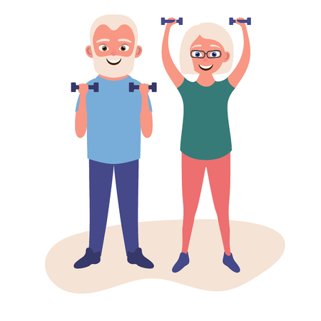 Old man and woman doing fitness exercises with dumbbells together. Elderly people active lifestyle. Vector illustration