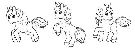 Unicornios de dibujos animados lindo aislados sobre fondo blanco. Ilustración de vector de libros para colorear