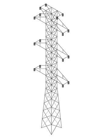 Pylône haute tension de style isométrique. Générateur de ligne électrique en acier. Illustration vectorielle