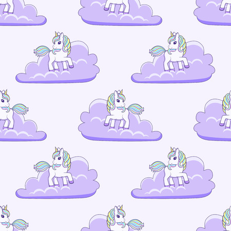Unicorn and clouds. Vector illustration Ilustração